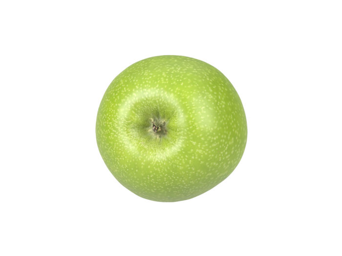 bottom view rendering of a green apple 3d model