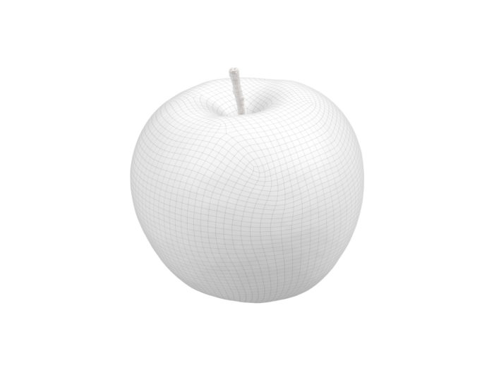 wireframe rendering of a green apple 3d model