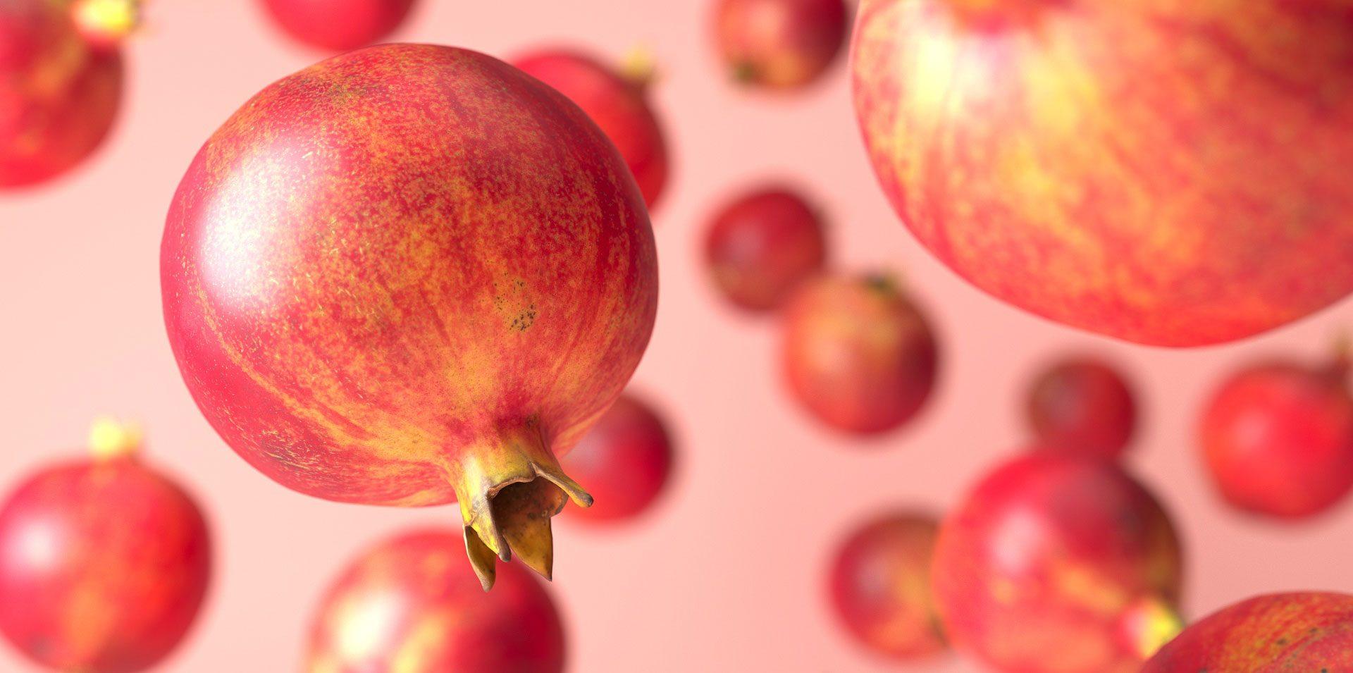 3d rendering of falling pomegranate 3d models
